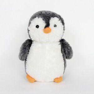 "Plush Gray Stuffed Penguin 12"" Soft Animal Toy"